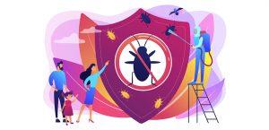 Εικαστικό με οικογένεια και υπάλληλο απεντόμωσης που αντιμετωπίζει έντομα σπιτιού