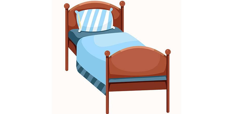 Εικαστικό με ξύλινο κρεβάτι με μπλε κλινοσκεπάσματα