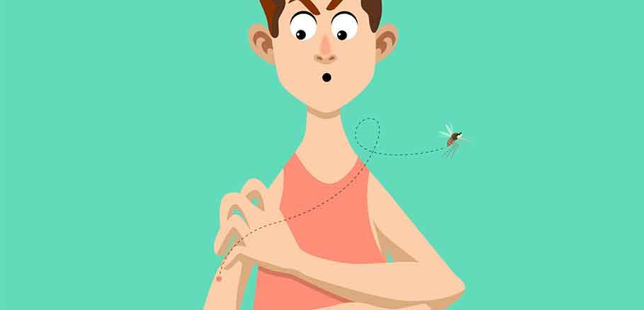 Εικαστικό με άντρα με τσιμπήματα και κουνούπι, ένα απ' τα πιο ενοχλητικά έντομα του καλοκαιριού.