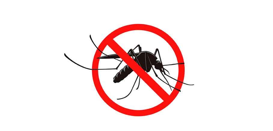 Εικαστικό με γκρι κουνούπι μέσα σε κόκκινο στόχαστρο, συμβολισμός για την καταπολέμηση κουνουπιών.